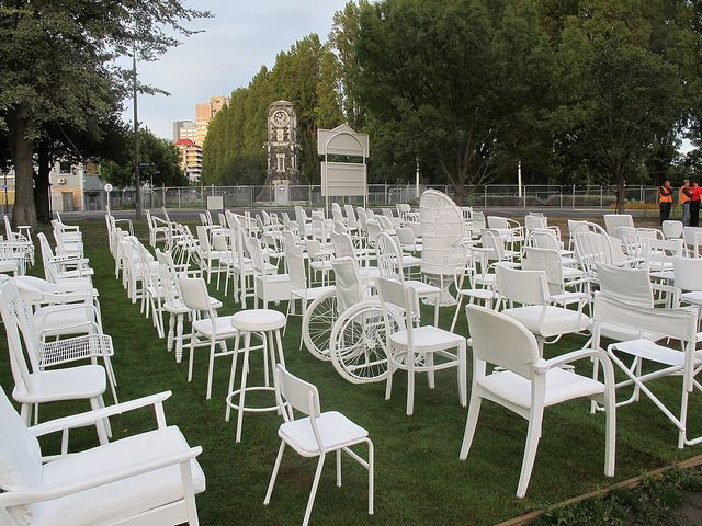 Christchurch earthquake - 185 empty chairs - in memory of the 185 lives lost in the Christchurch Earthquake on February 22nd 2011