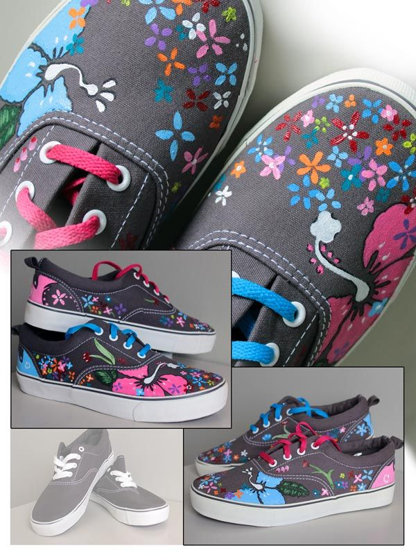 Flores para tus #zapatillas. Flowers on your shoes. #handpainted