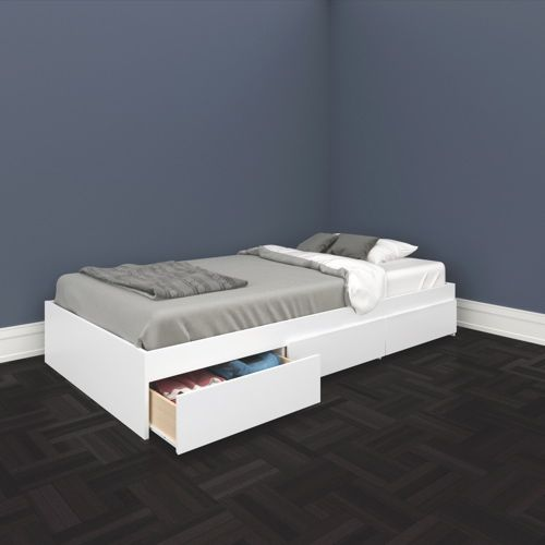 INSPO: Chic Single Beds With Storage Of Nexera Traffic Single Storage Bed (223903)  White  Online Only For Furniture