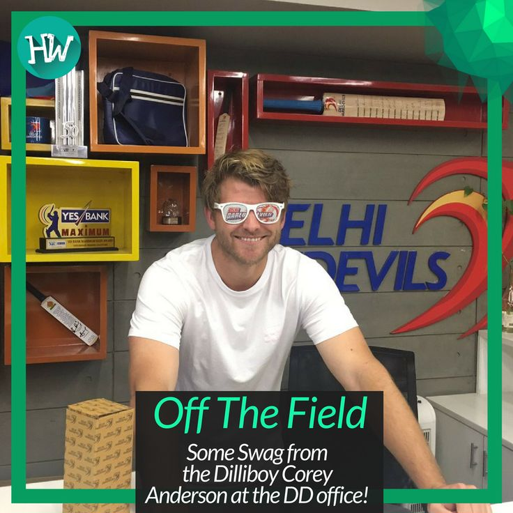 #OffTheField Corey Anderson enjoying his time at the DD office. #IPL #DD #cricket