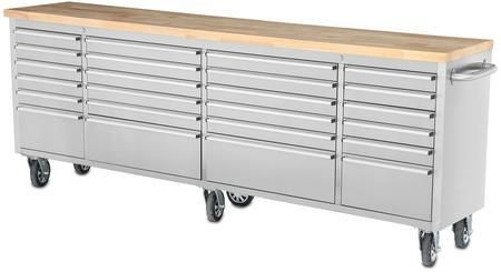 "HTC9624W 96"" Tool Chest Work Station with 24 Drawers in Stainless Steel"