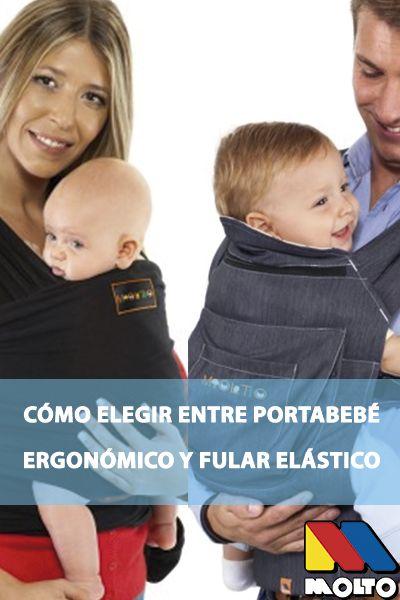 Cómo elegir entre un portabebés ergonómico y un fular elástico. En Molto tenemos ambas opciones para que seas tú quien decida qué es lo mejor para ti y tu bebé. Recuerda consultar a un especialista en porteo si tienes cualquier duda. #porteo #bebé #portabebe #fulardeporteo