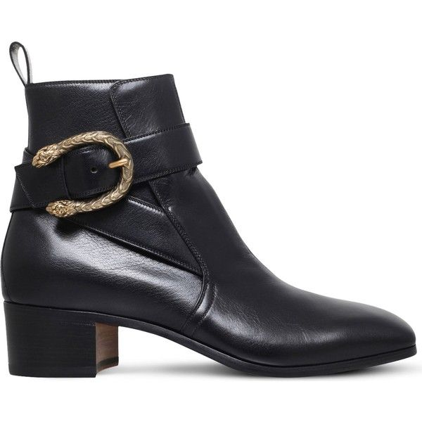 GUCCI New Zealand tiger-head leather boots ❤ liked on Polyvore featuring shoes, boots, buckle boots, real leather boots, gucci footwear, gucci shoes and gucci