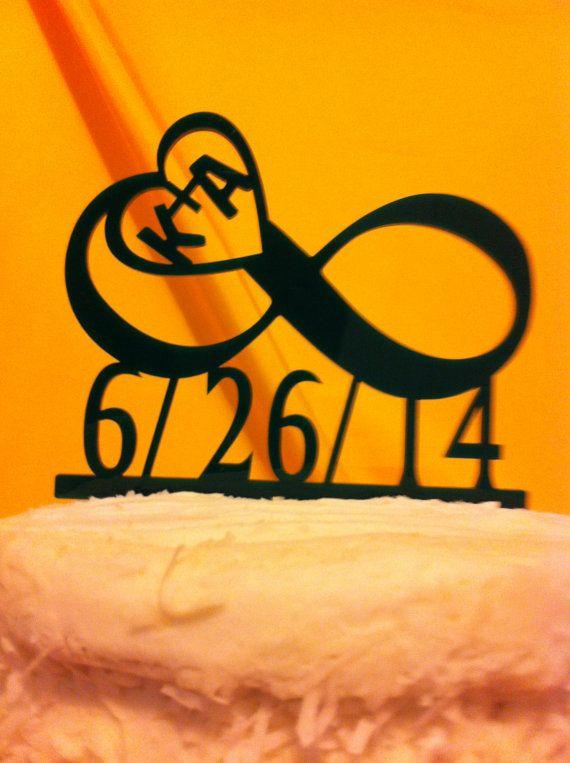 Acrylique personnalisé monogramme Infinity, initiales coeur, Date, personnalisé Wedding Cake Topper MADE In USA... Navires en provenance des é.-u.