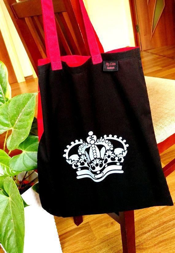 Crown Tote Bag Black Red Tote bag Handpainted by AtelierByLiza