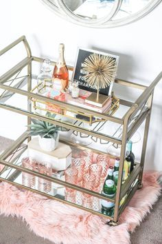 How To Style Your Bar Cart | Bar Cart Styling | Gold Bar Cart | Blush Glassware