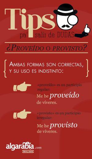 ¿Proveído o provisto? #tip #lengua #español                                                                                                                                                                                 Más