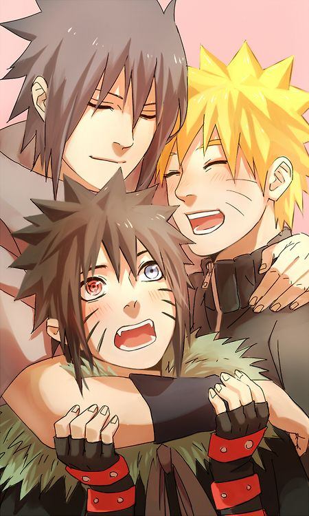Look at that happy family! Sasuke Uchiha is the father, and Naruto Uchiha (Uzumaki) is the mother, and then they have a son Menma Uchiha.