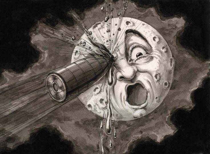 "Georges Méliès. "" De lleno en el ojo""  Recomposición de una escena de la película Le Voyage dans la Lune ('Viaje a la Luna', 1902], c. 1930. La Cinémathèque française. Foto Stéphane Dabrowski © Georges Méliès, VEGAP,"