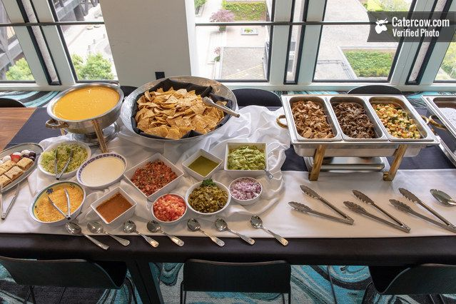 Loaded Nacho Bar From Redwood Catering On Catercow Taco Bar Party Nacho Bar Mexican Food Catering