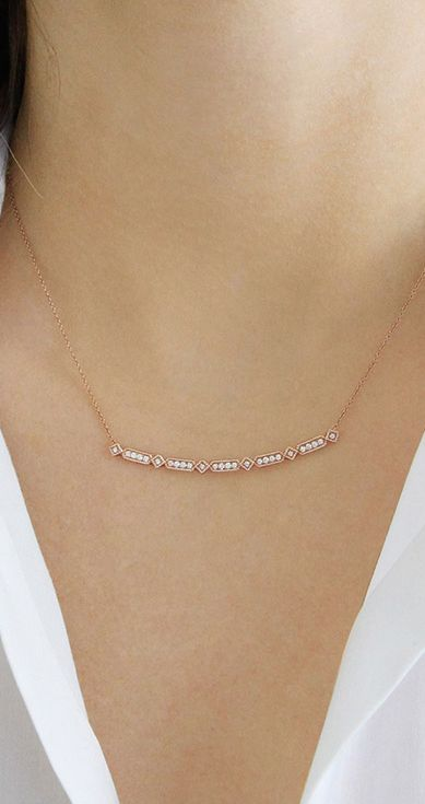 Art deco inspired, this curved bar necklace will quickly become your new everyday signature. #diamonds #necklaces #danarebecca