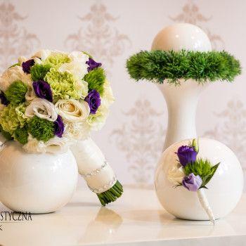 bukiet ślubny mieszany zielony fioletowy biały piwonia goździk eustoma