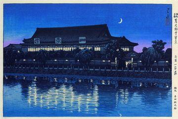 Kawase Hasui(川瀬巴水),100 Famous Restaurants in Tokyo Ipeisou, Ryougoku(昭和東都著名料亭百景 両国 一平荘),Date: 1940, published by Tada Tetunosuke(多田鉄之助),Hotei 2008DVD #651,
