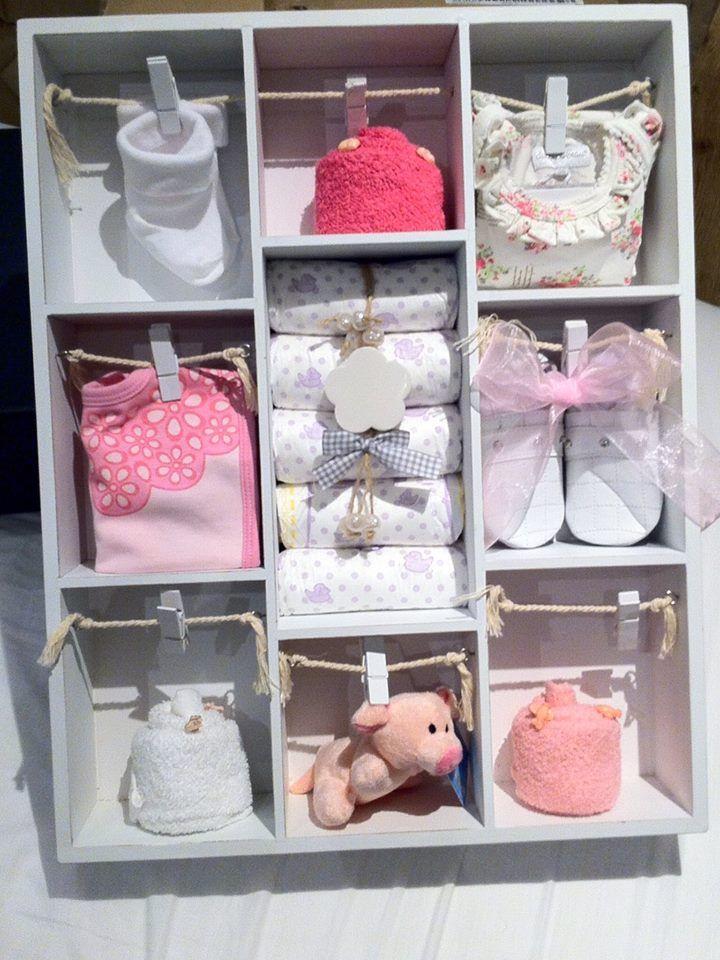Letterbak gevuld met babyartikelen, Kraamcadeau meisje. Info: http://joleenskraamcadeaus.wix.com/kraamcadeau#!product/prd1/1650841745/gevulde-letterbak