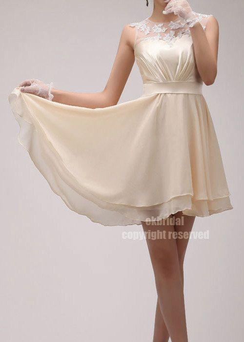 lace bridesmaid dress, chiffon bridesmaid dress, junior bridesmaid dress, short dress bridesmaid, formal short dress, RE172. $98.00, via Etsy.