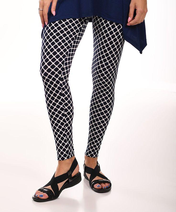 Take a look at this Black & White Lattice Leggings - Plus today!