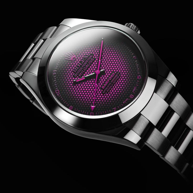 Bamford Watch Department USA  – Customised Luxury Watches – Black Rolex MGTC   –  Rolex Milgauss 'Aftershock' Pink