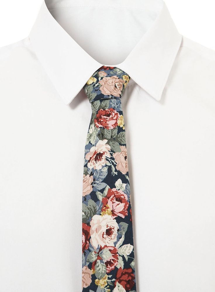 Blue Jumbo Floral Tie - Ties and Bow Ties - Accessories - TOPMAN