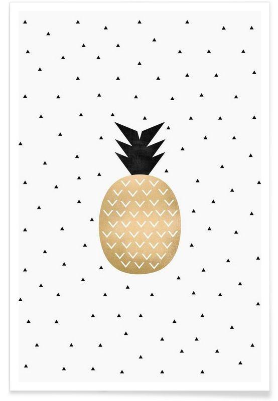 Golden Pineapple en Affiche premium par Elisabeth Fredriksson | JUNIQE
