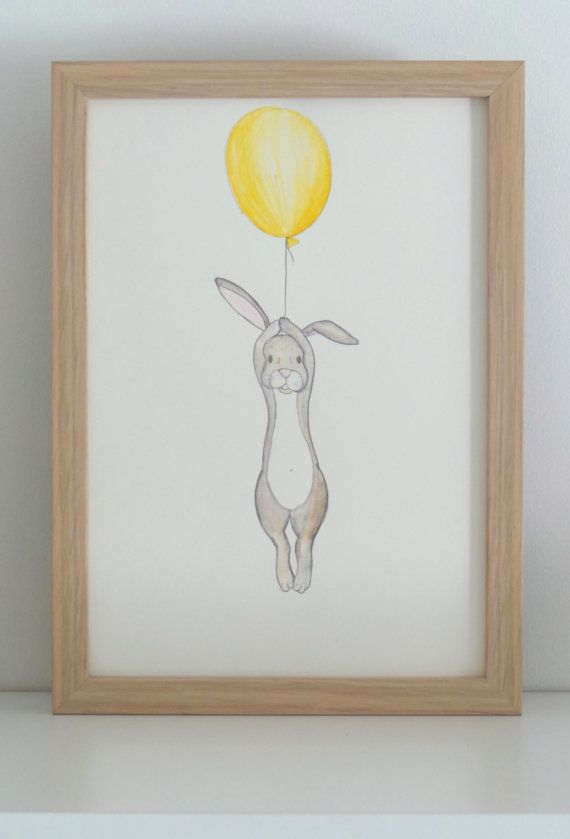 Floating Rabbit- nursery art- print- drawing-illustration Gift for boy or girl – Yellow ballon and hare