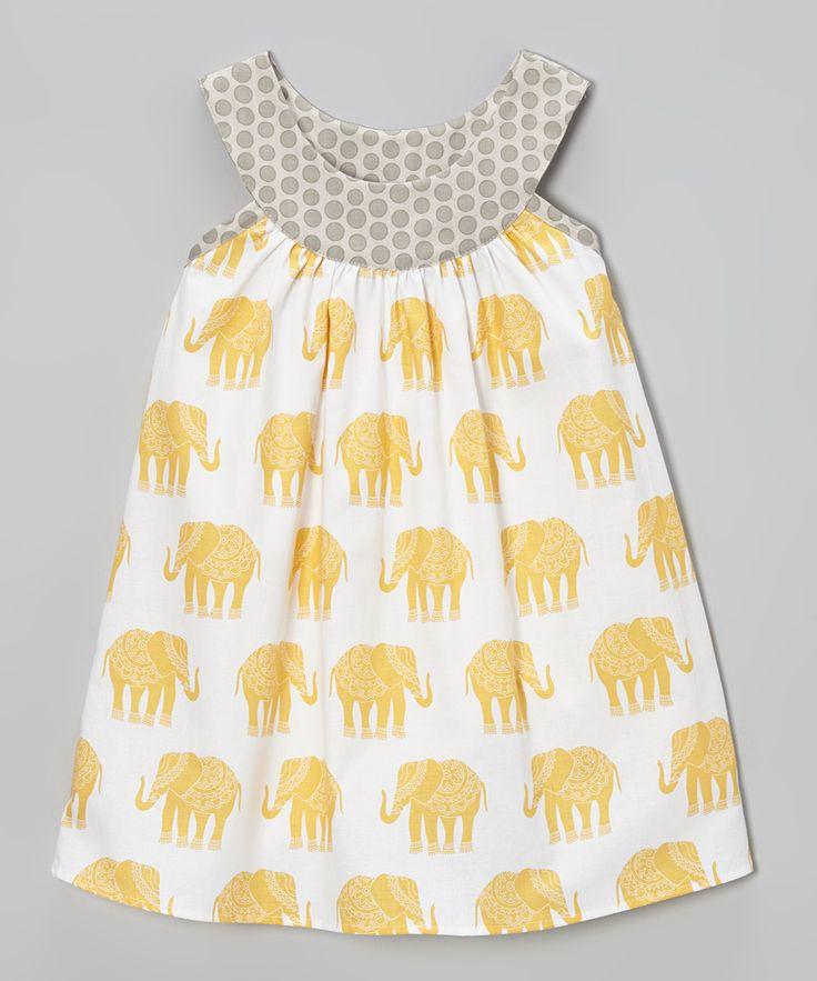 Yellow & Gray Elephant Yoke Peasant Dress - Toddler & Girls