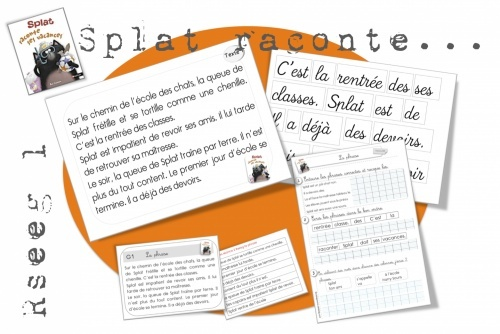 Splat le chat (and others) resources for French stories.  May not use as indicated but the text available for ordering, reading, sharing on cards and strips for pocket chart is handy.