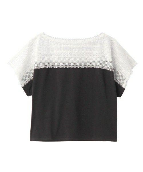 UNTITLED(アンタイトル)の幾何学柄レース切り替えカットソー(Tシャツ/カットソー)|ブラック