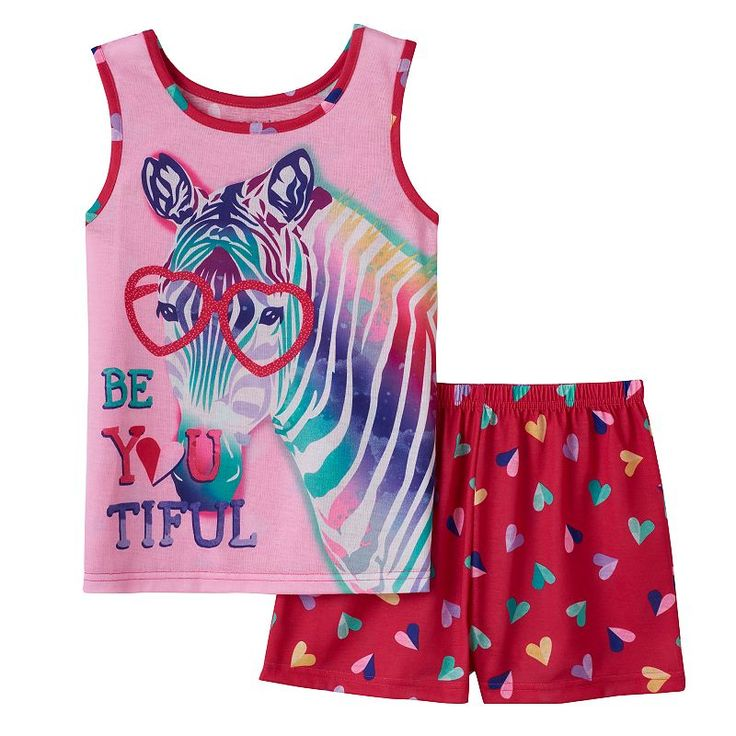 "Girls 4-16 4D Interactive Zebra ""Be You Tiful"" Pajama Set, Girl's, Size: 14-16, Pink Other"