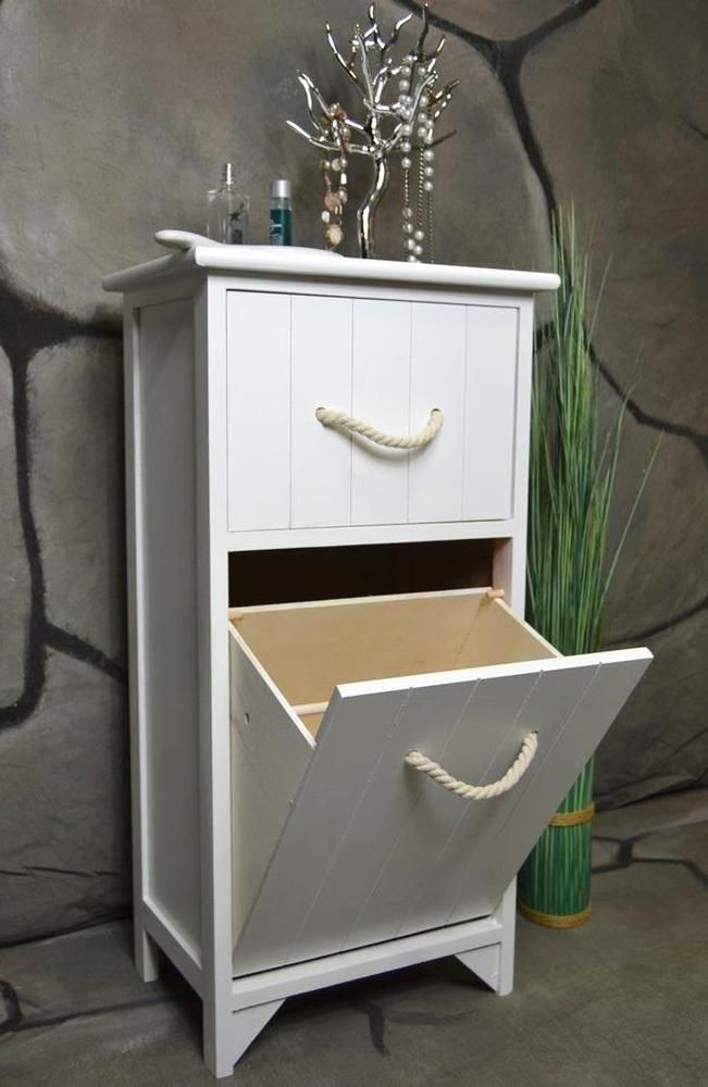 Badschrank Wäschesammler Wäschekorb Wäschetruhe Weiß Holz LV1065
