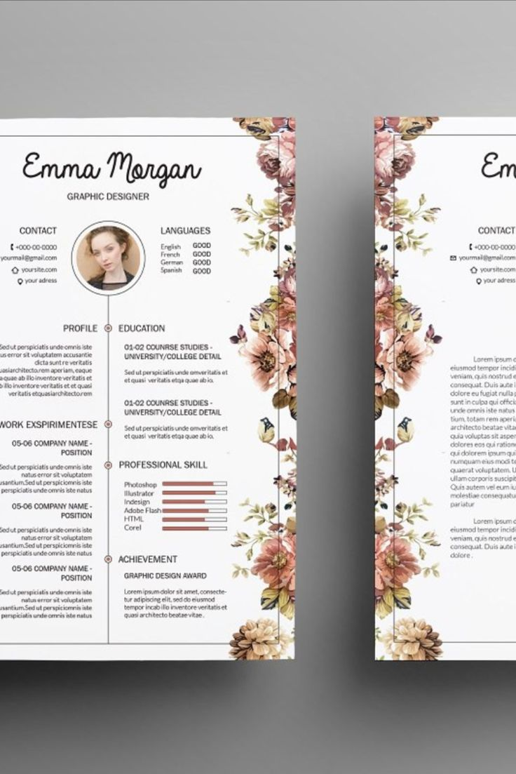 Floral side CV / Resume Template / M Graphic resume