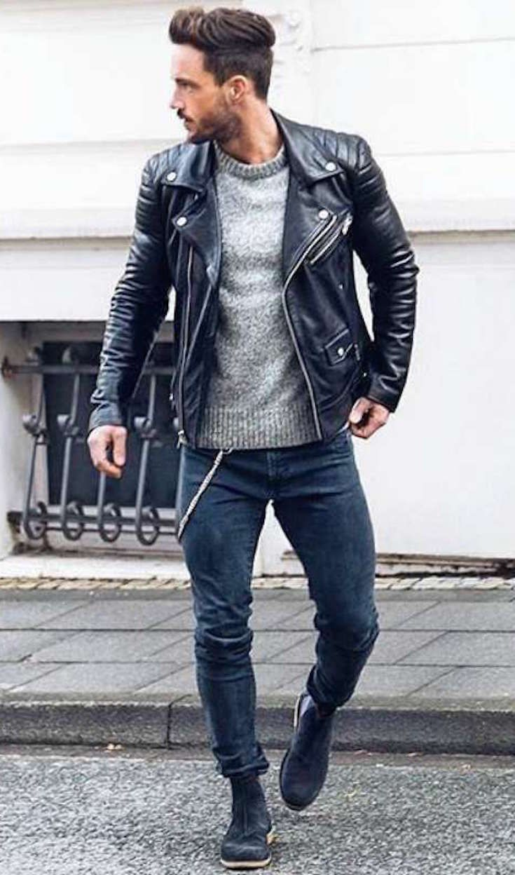 Men S Fall Winter Style How To Style A Leather Jacket Winter Outfits Men Leather Jacket Men Mens Outfits [ 1248 x 735 Pixel ]
