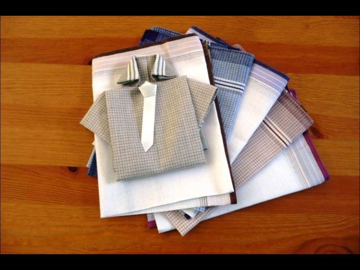 Overhemd vouwen ( net als centjes) stropdas van papier maken, klaar vaderdag 2014