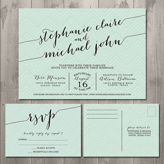 Zig zag handwriting wedding invitation suite diy for Wording for wedding invitations with rsvp