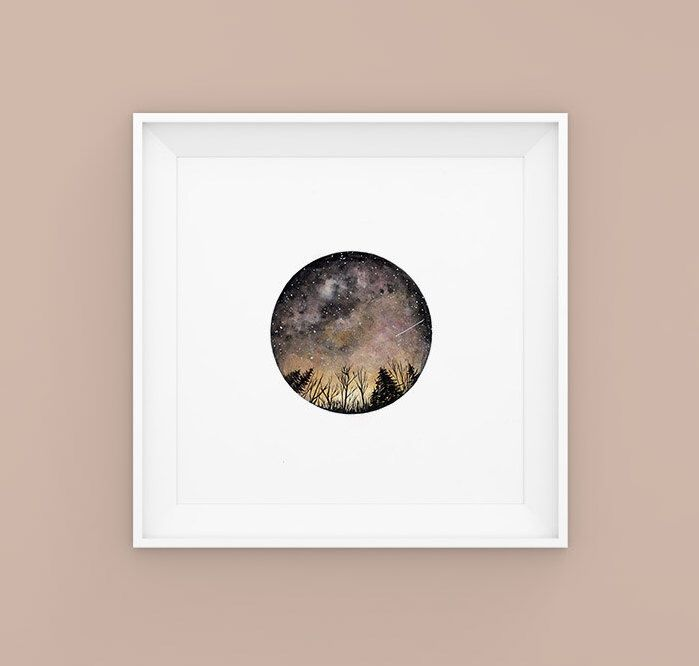 Watercolour Art Print, Starry Sky, Forest Art, Home Decor, Circle Art, Night Sky, Nature Print, Space Art, Stars, Tree Art, Landscape Print by StudioFactotumUK on Etsy https://www.etsy.com/uk/listing/264103271/watercolour-art-print-starry-sky-forest