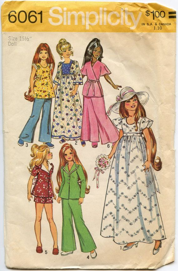 1970s Doll Clothes Pattern Simplicity 6061 Doll by GreyDogVintage, $8.00