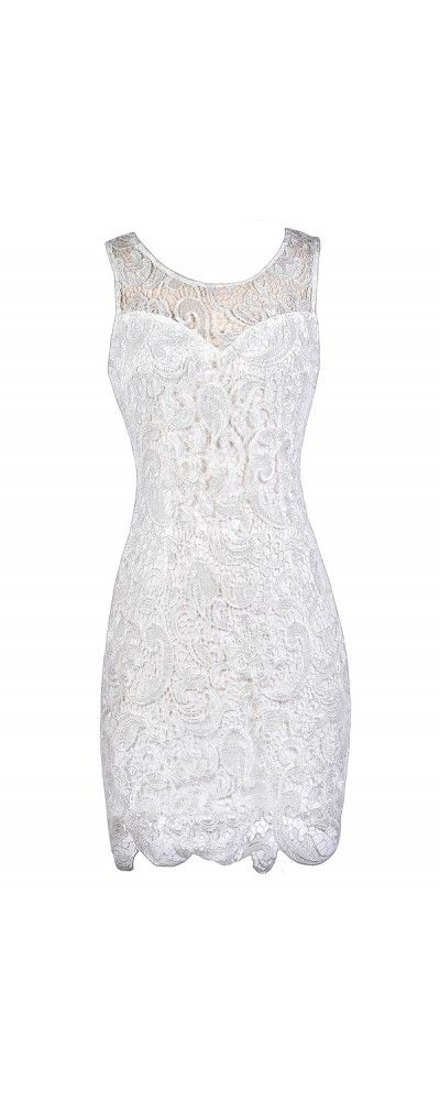 Lily Boutique In First Lace Pencil Dress in Ivory, $40 www.lilyboutique.com