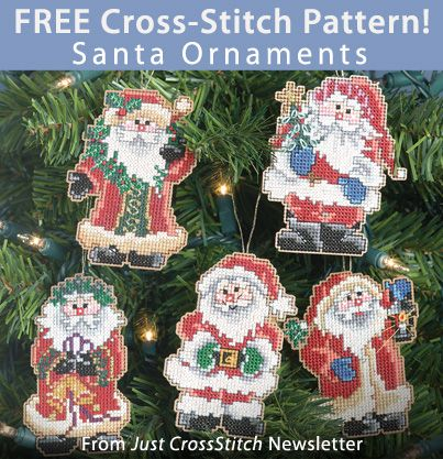 Santa Ornaments Download from Just CrossStitch Newsletter . Click on the photo to access the free pattern. Sign up for this free newsletter here: AnniesNewsletters.com:
