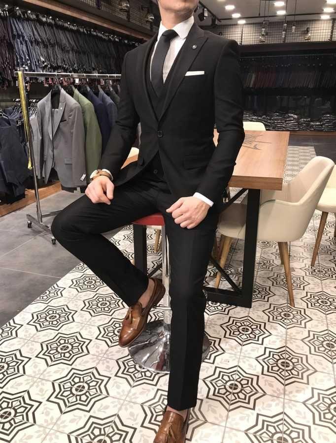 0804f30d427df Terziademaltun - İtalyan stil slim fit ceket yelek pantolon siyah takım  elbise T3116