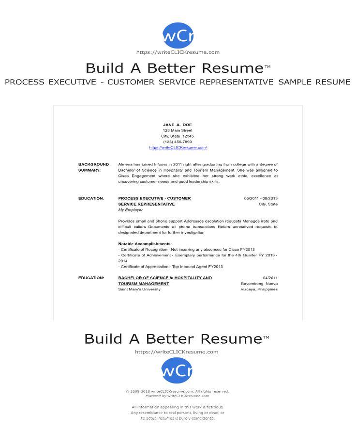 Sample process executive   customer service representative  Resume by writeCLICKresume.com
