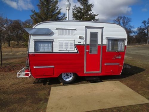 """Classic Red White Shasta Trailer with Wings 15 Feet 
