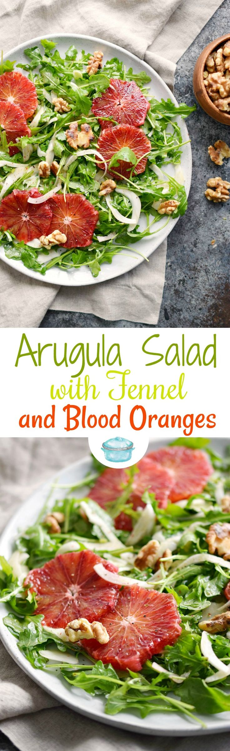 This light and refreshing Arugula Salad with Fennel and Blood Oranges is perfect as a starter before the main course or as a light meal! © COOKING WITH CURLS