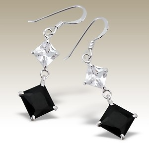 Squares Cubic Zirconia stone earings - Finishing: Hand polished 925 Sterling silver+E-coat 925 Sterling silver Design from Bangkok925.com  Dimensions:  2.7cm.  nice  Silver CZ Earrings at $5.29