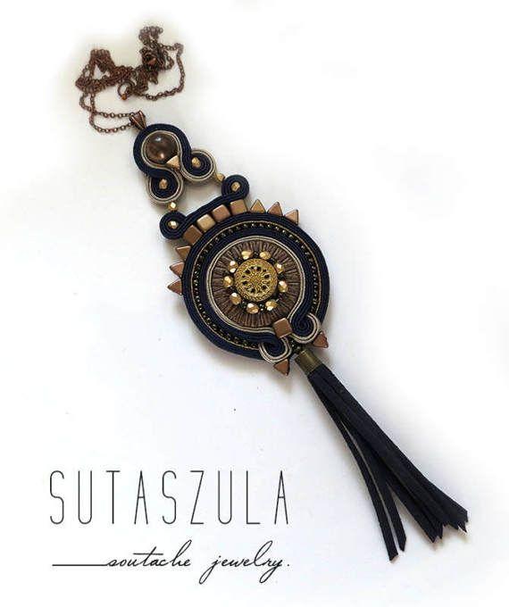Navy blue copper tassel necklace Statement necklace by sutaszula