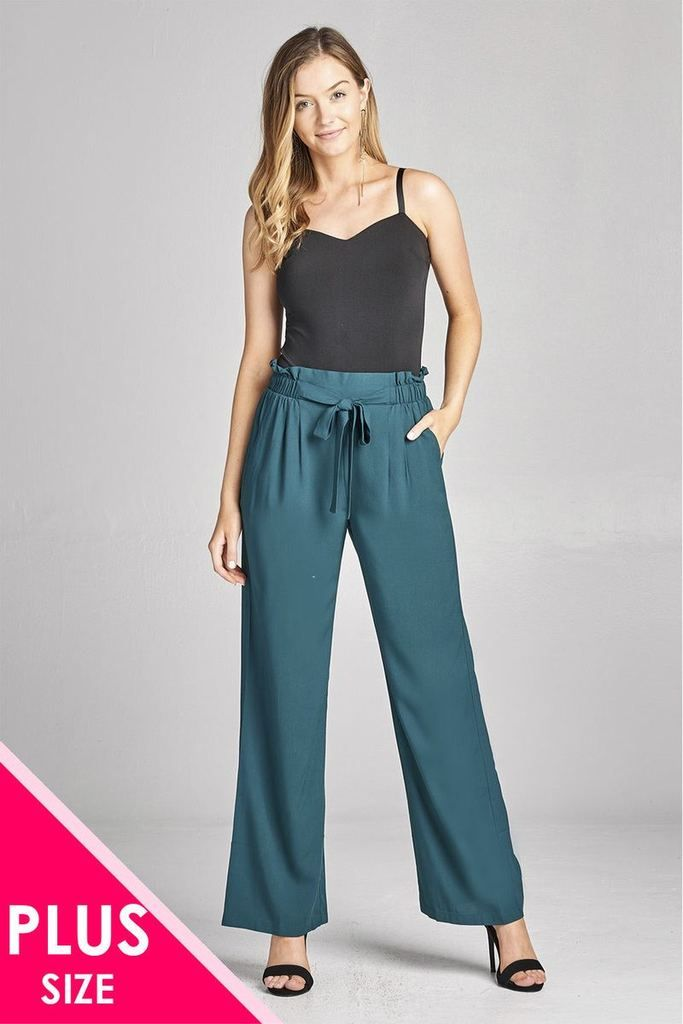 a61977a6abfd Ladies fashion plus size self ribbon detail long wide leg woven pants