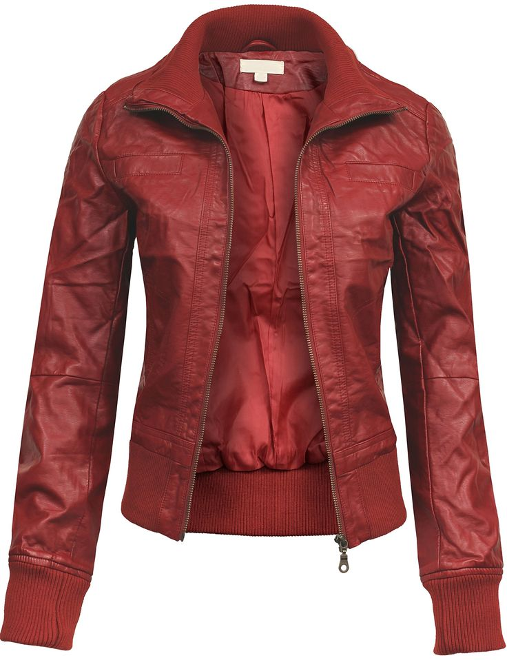 BEKDO Womens Classic Mock Collar Fitted Biker Zip Up Faux Leather Jacket-M-RED