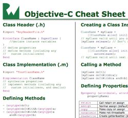 Objective-C Cheatsheet and Quick Reference v1.2  It summarizes the most important Objective-C syntax on one page to get you up to speed quickly, including:      Types and variables     Creating and using classes     Defining and implementing methods     Defining and using properties     Creating custom initializers     Handy methods in NSArray/NSString