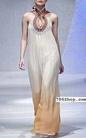 Off-white/Beige Crinkle Chiffon Suit | Buy Pakistani Dresses Online in USA | www.786shop.com