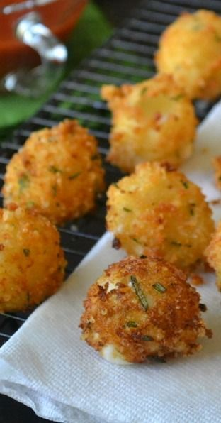 Fried Rosemary Mozzarella Balls  www.tablescapesbydesign.com https://www.facebook.com/pages/Tablescapes-By-Design/129811416695