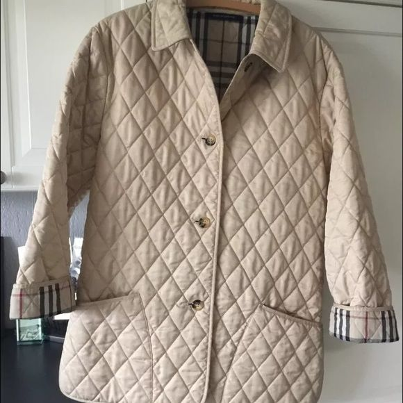 Burberry Quilted Jacket! Beautiful Burberry quilted jacket - in excellent condition - I would love to keep this jacket but unfortunately I need a different size. 100% authentic. More a tan color than beige! Make me an offer! Burberry Jackets & Coats