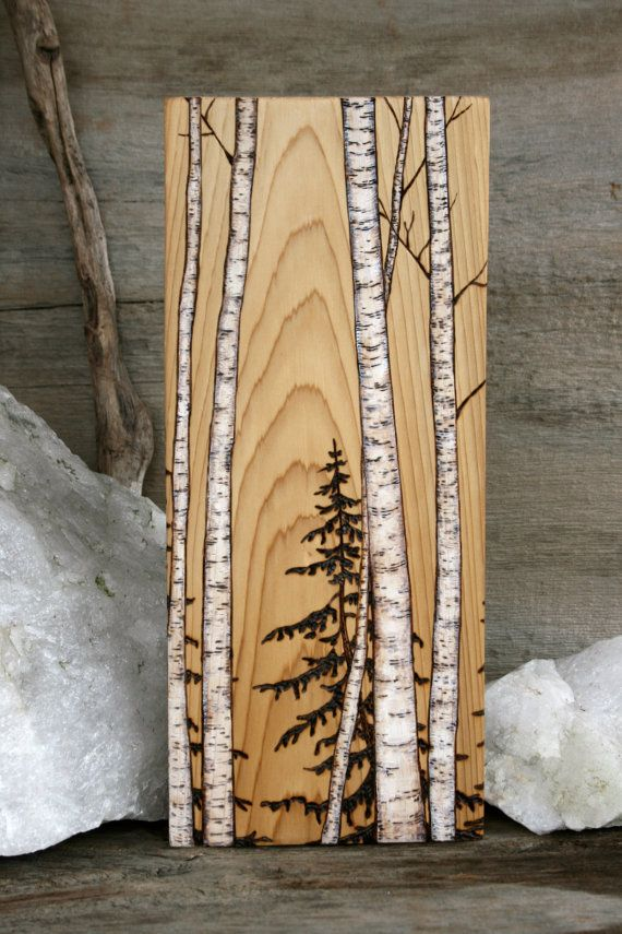 Birch trees art block wood burning pine grains and for Mural on wood